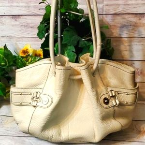 Cole Haan Cream Pebbled Cinched Leather Hobo Bag
